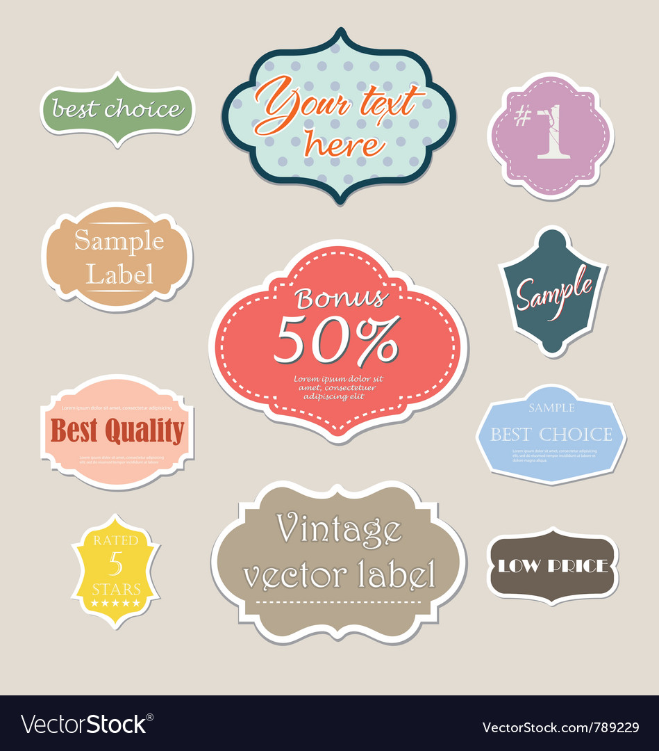 Vintage label set for web vector | Price: 1 Credit (USD $1)