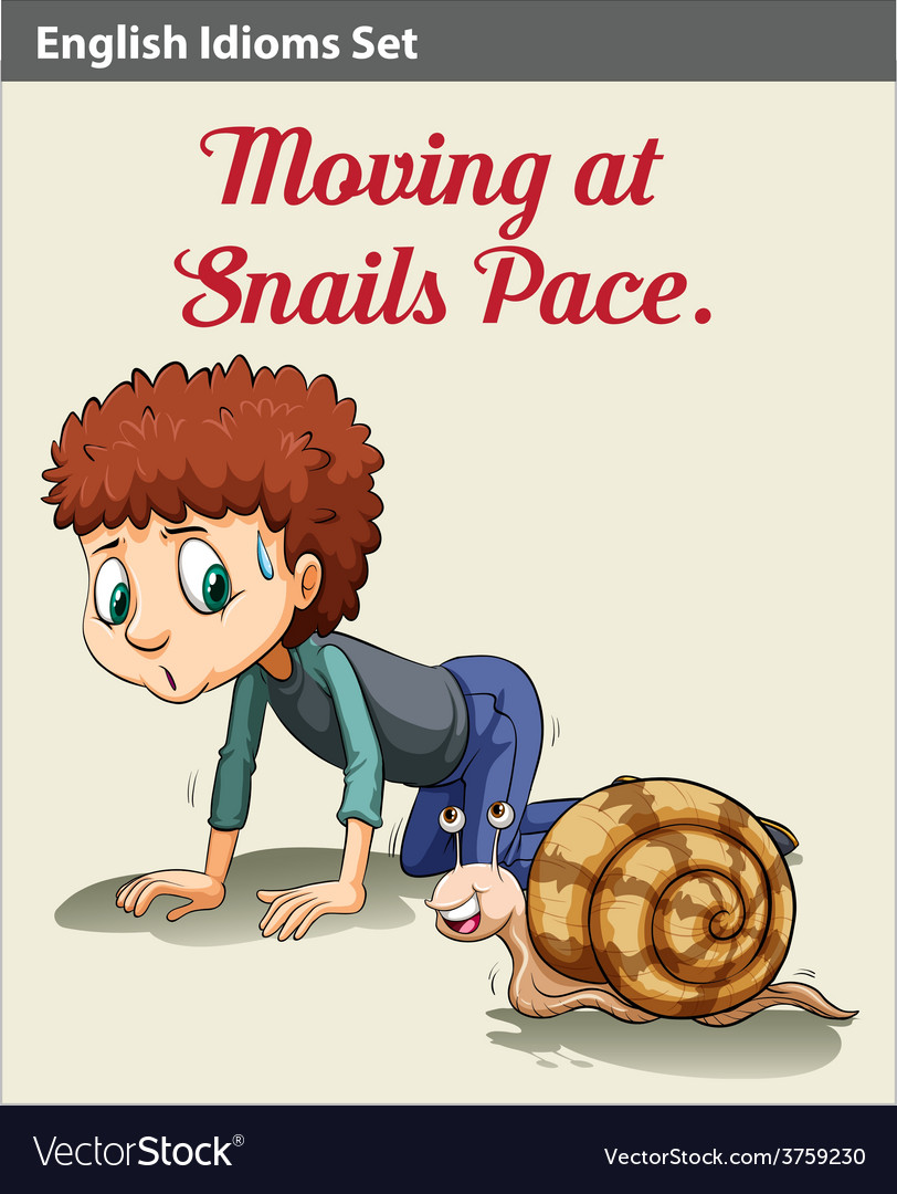A boy and a snail vector | Price: 1 Credit (USD $1)