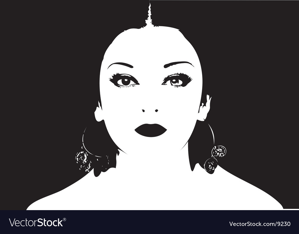 Black and white girl face vector | Price: 1 Credit (USD $1)