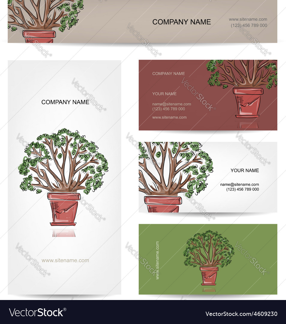 Business cards design green tree in pot vector | Price: 1 Credit (USD $1)