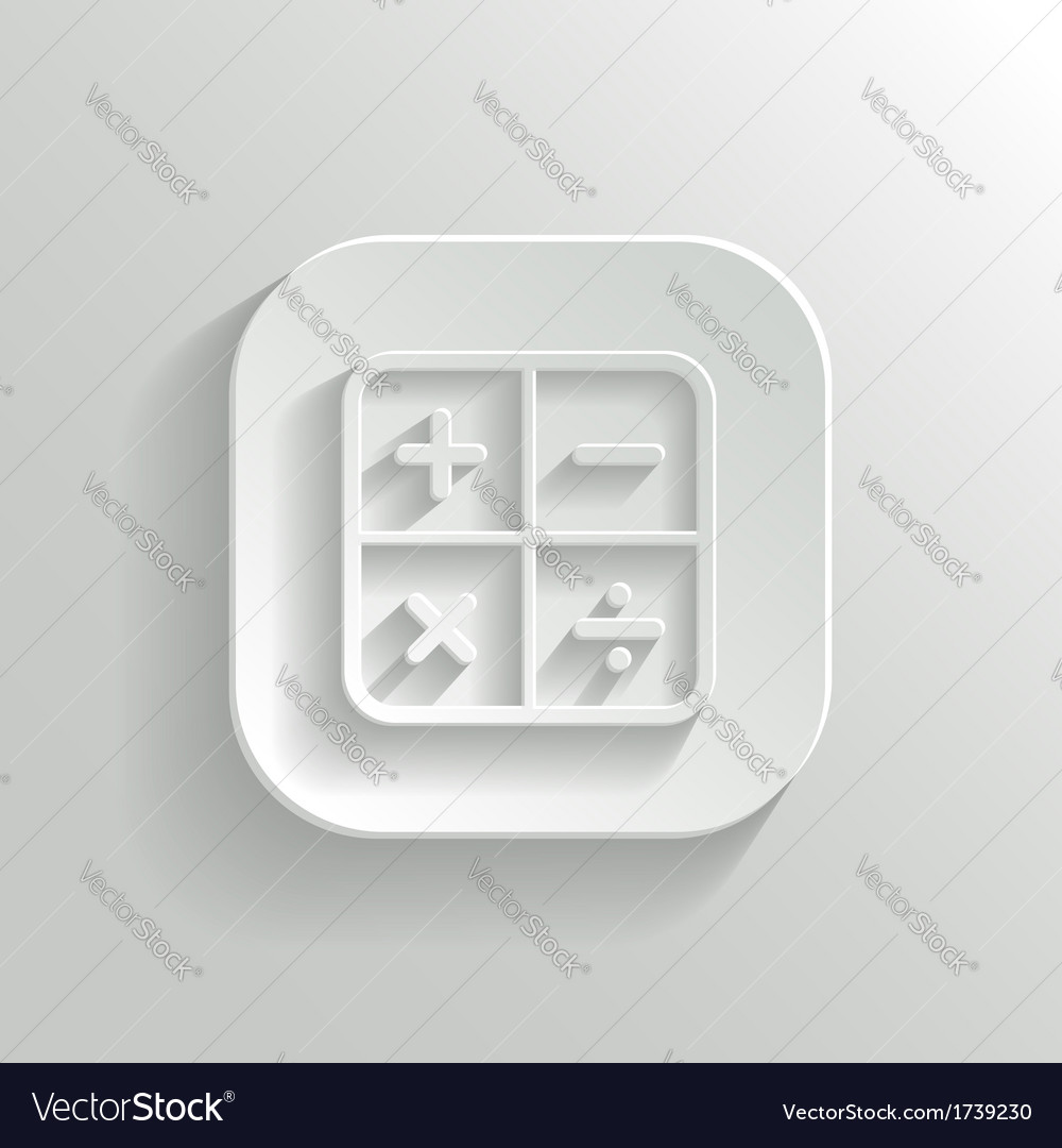 Calculator icon - white app button vector | Price: 1 Credit (USD $1)