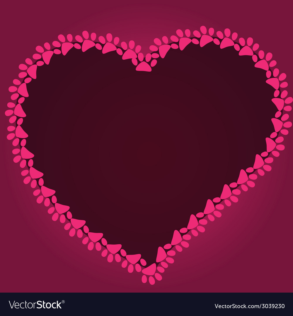 Cartoon heart drawn with cat paw footprints vector | Price: 1 Credit (USD $1)