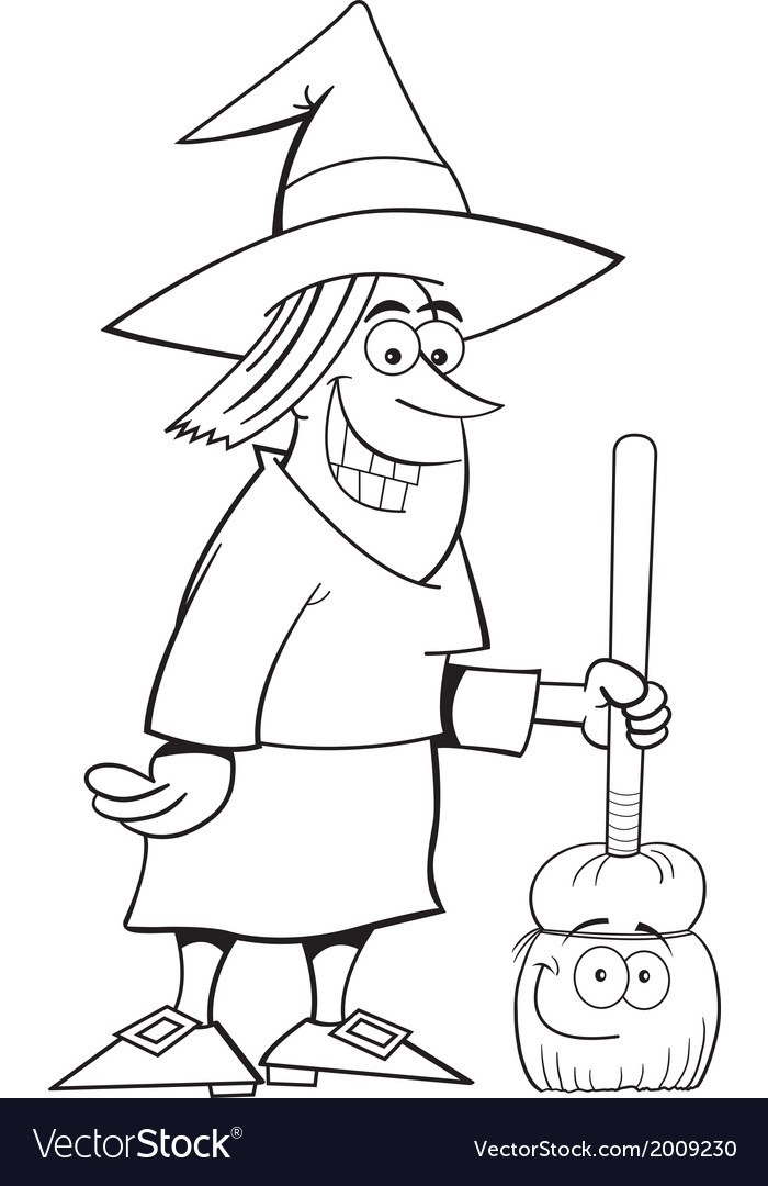 Cartoon witch holding a broom vector | Price: 1 Credit (USD $1)