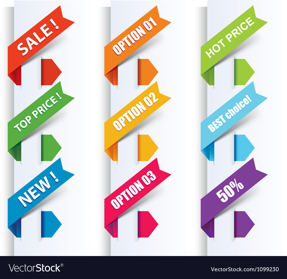 Colorful arrows and labels vector | Price: 1 Credit (USD $1)