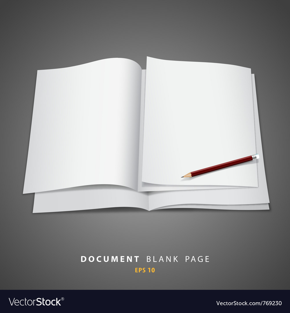 Document blank white page and pencil vector | Price: 1 Credit (USD $1)