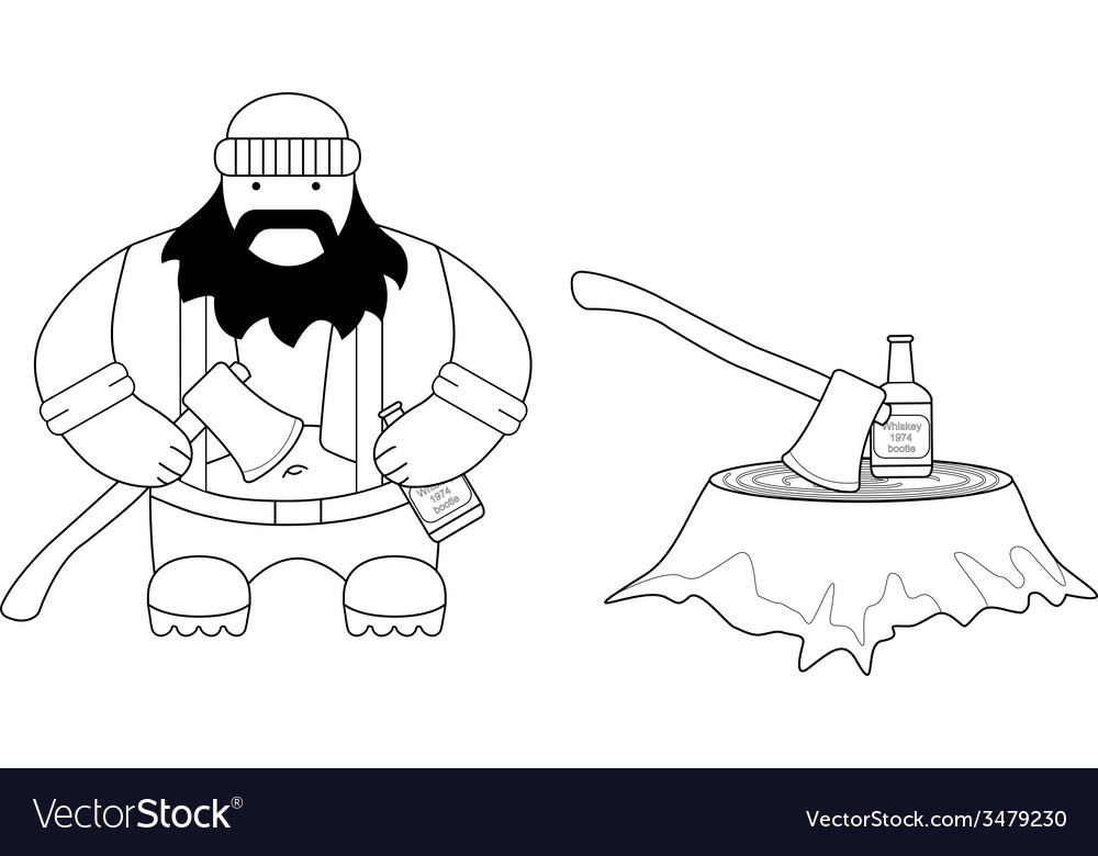 Fat lumberjack line-art vector | Price: 1 Credit (USD $1)