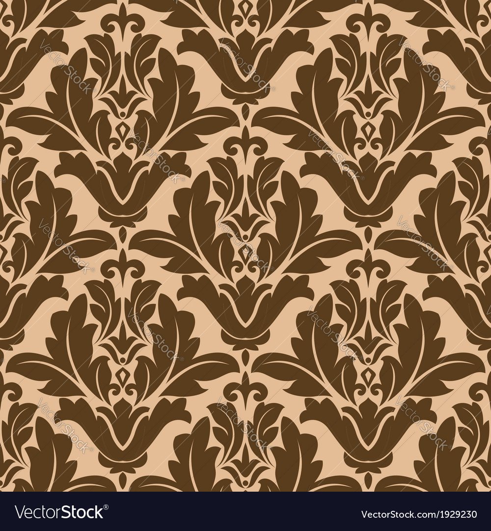 Floral damask-style repeat pattern vector | Price: 1 Credit (USD $1)
