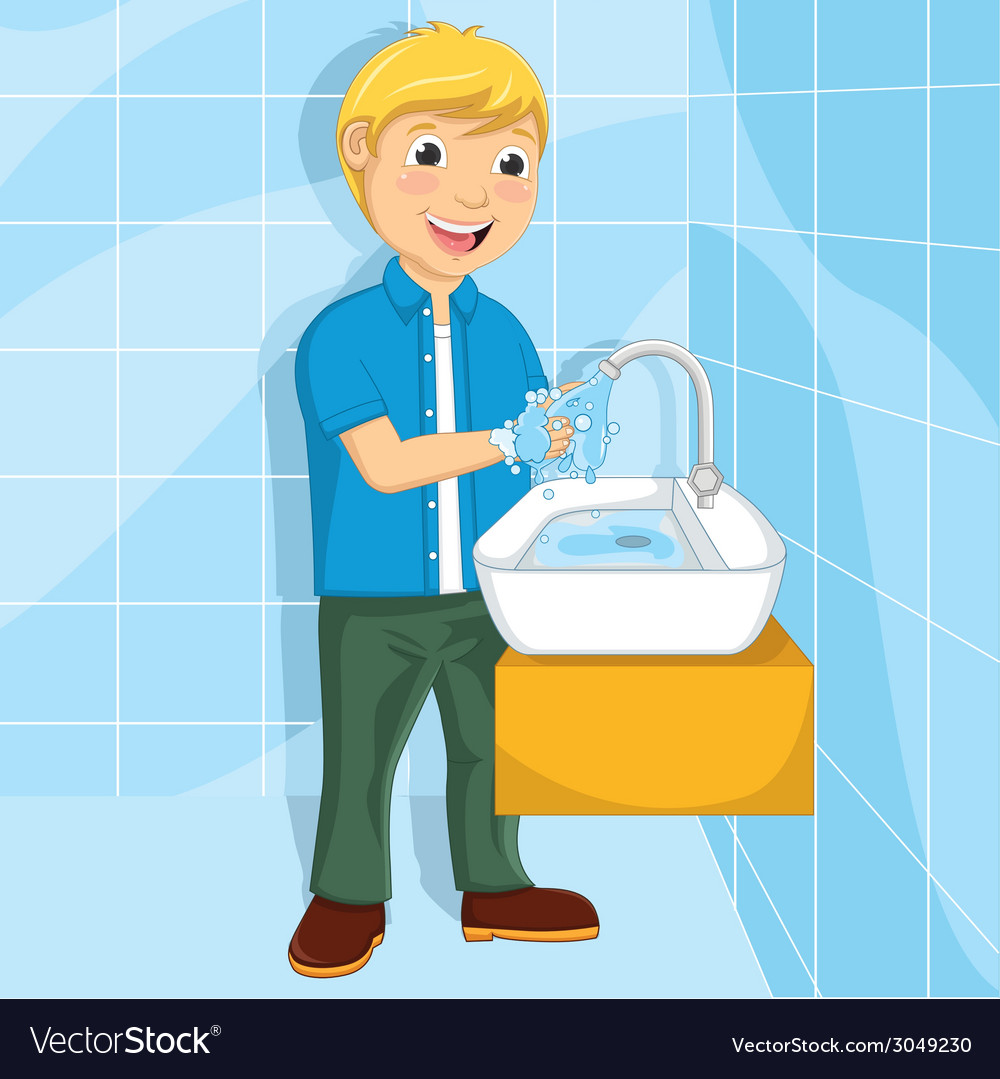 Of a little boy washing his ha vector | Price: 1 Credit (USD $1)