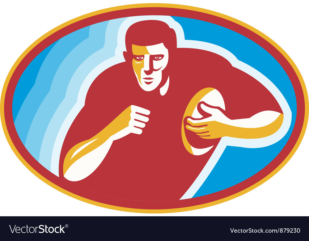 Rugby player running with ball vector | Price: 1 Credit (USD $1)