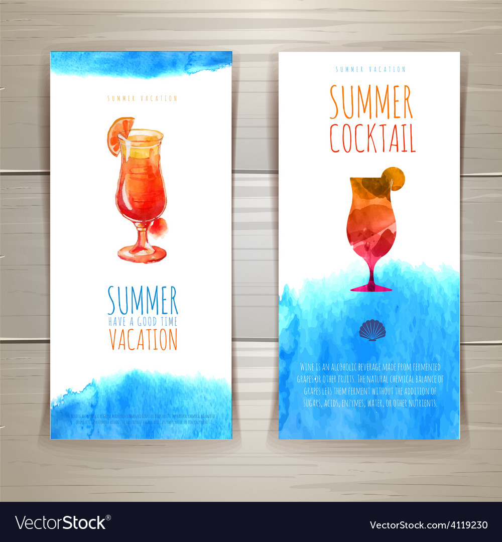 Set of blue watercolor summer banners with cocktai vector | Price: 1 Credit (USD $1)