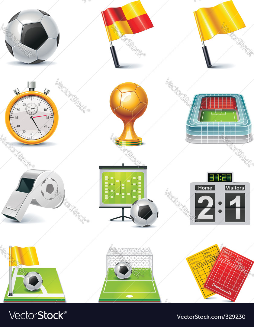 soccer icon set vector | Price: 5 Credit (USD $5)