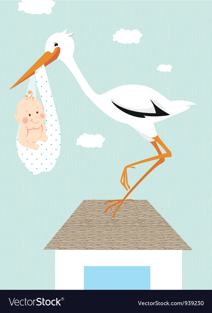 Stork and newborn baby on the roof vector | Price: 1 Credit (USD $1)