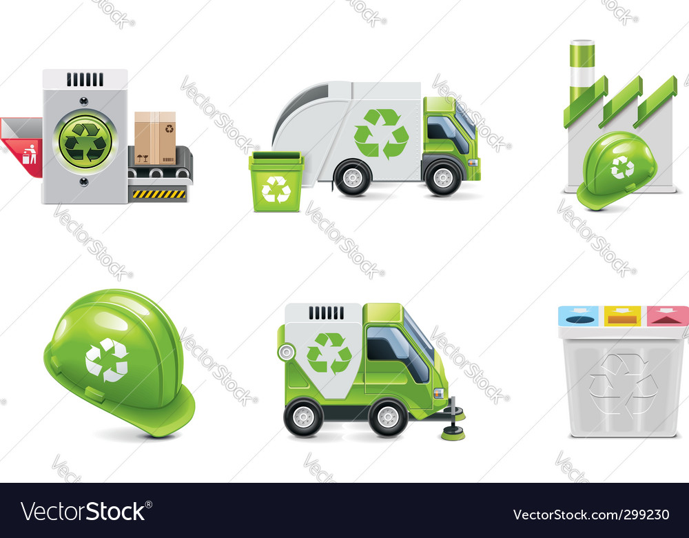 Trash recycling icon set vector | Price: 5 Credit (USD $5)