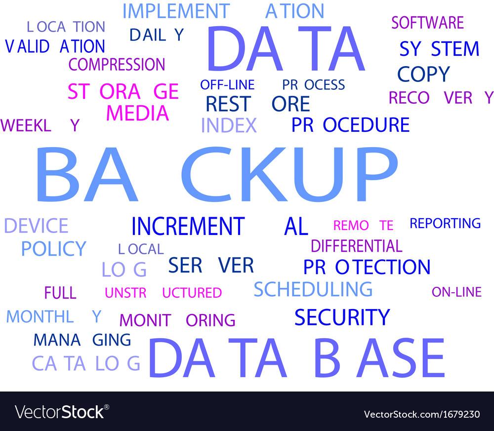 Word cloud backup vector | Price: 1 Credit (USD $1)