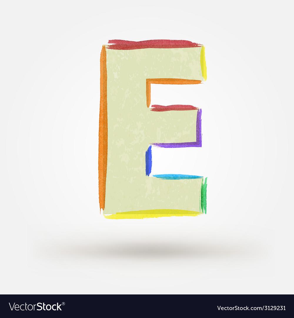 Alphabet letter e watercolor paint design element vector | Price: 1 Credit (USD $1)