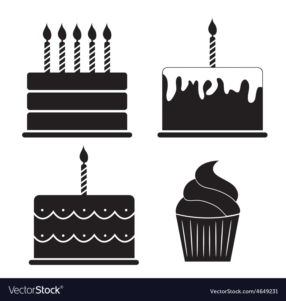 Birthday cake silhouette set vector | Price: 1 Credit (USD $1)