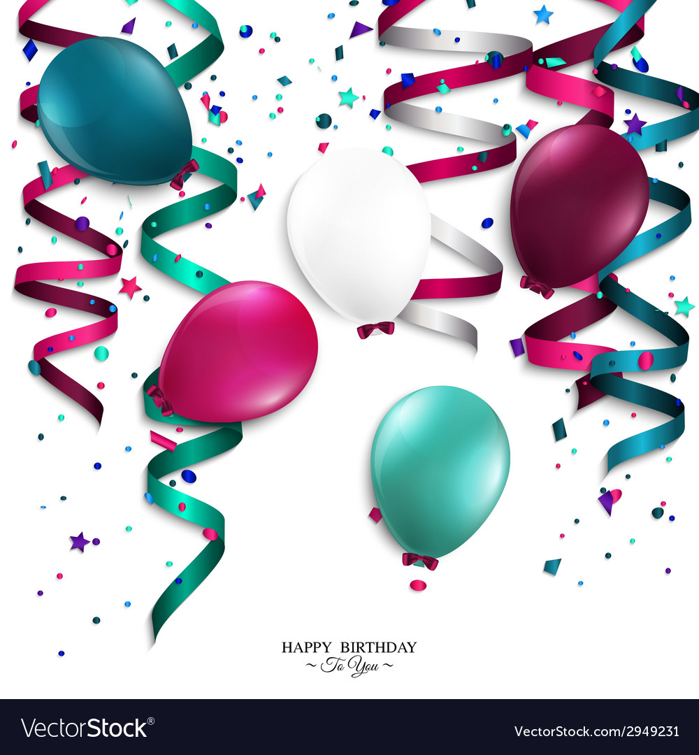 Birthday card with curling stream confetti vector | Price: 1 Credit (USD $1)