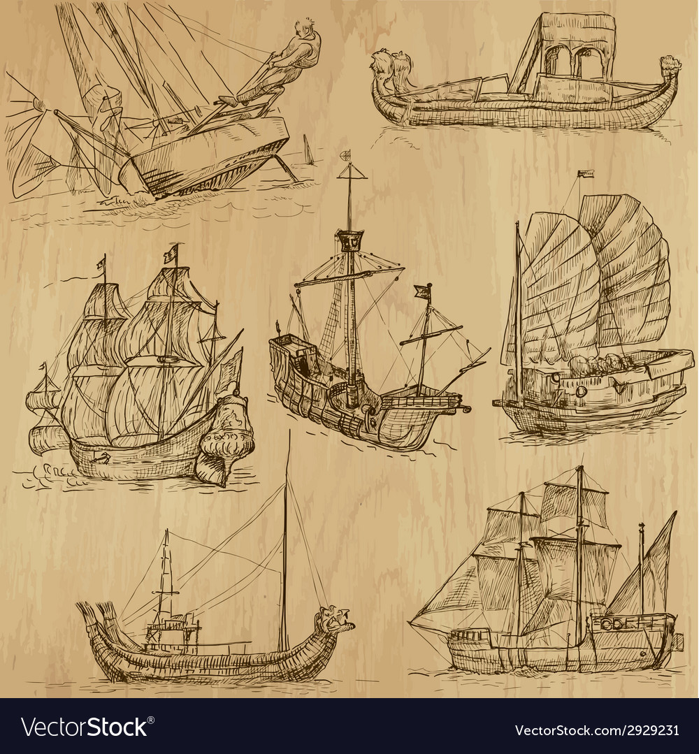 Boats - an hand drawn pack vector | Price: 1 Credit (USD $1)