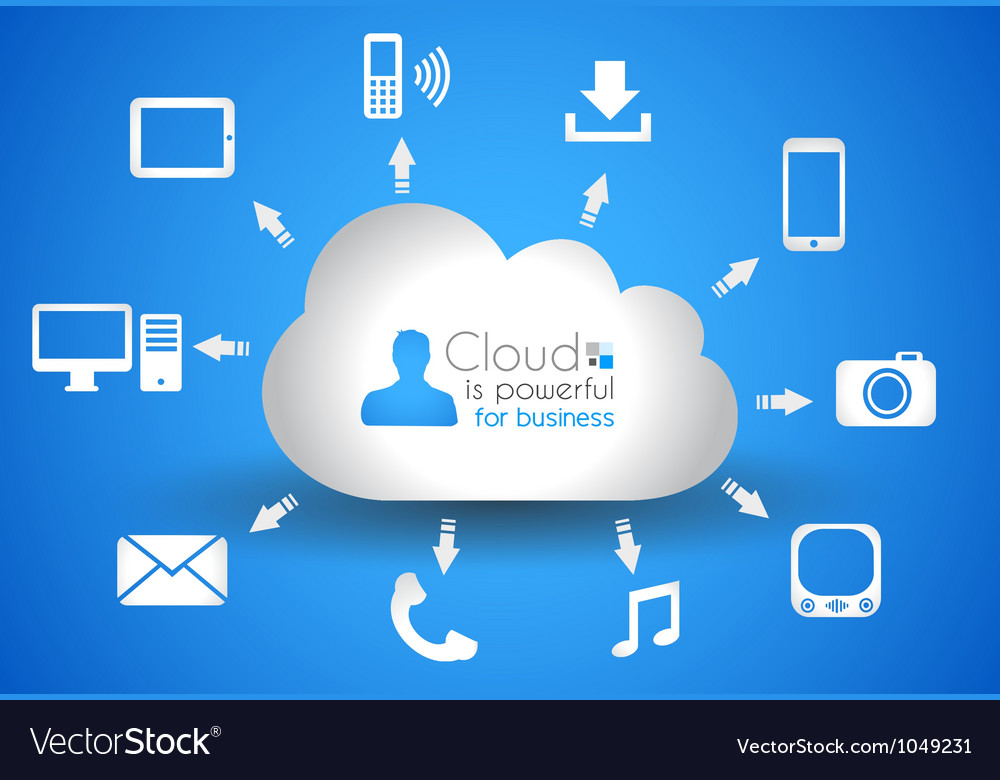 Cloud computing concept background with a lot of vector | Price: 1 Credit (USD $1)