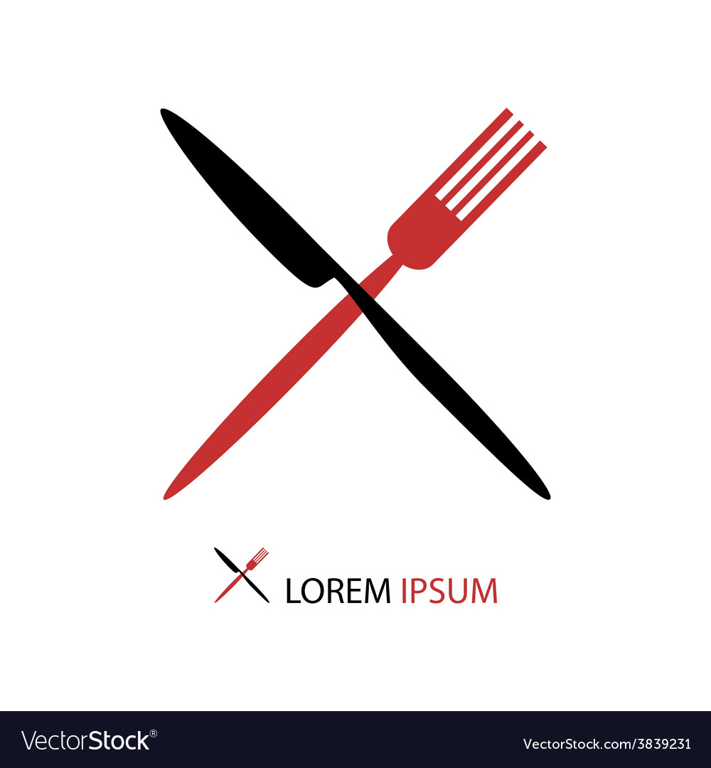 Crossed black and red flatware vector | Price: 1 Credit (USD $1)