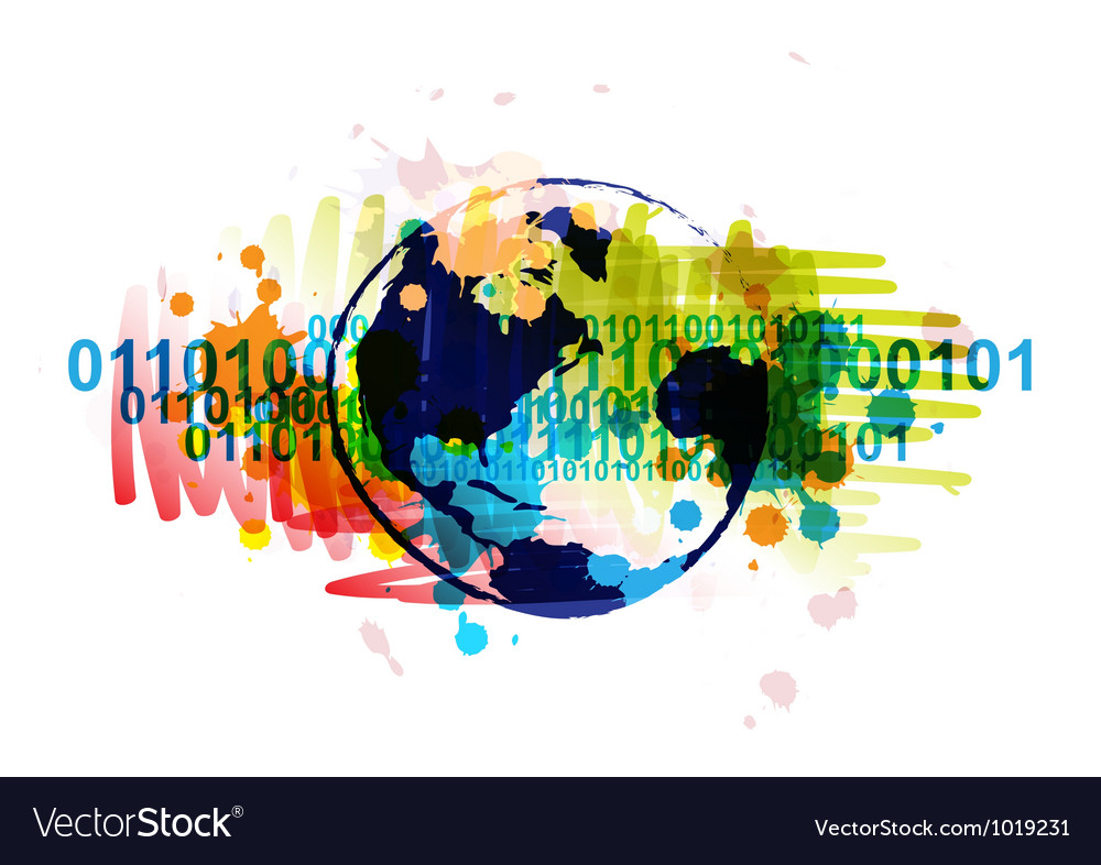 Digital globe banner with art background design vector | Price: 1 Credit (USD $1)