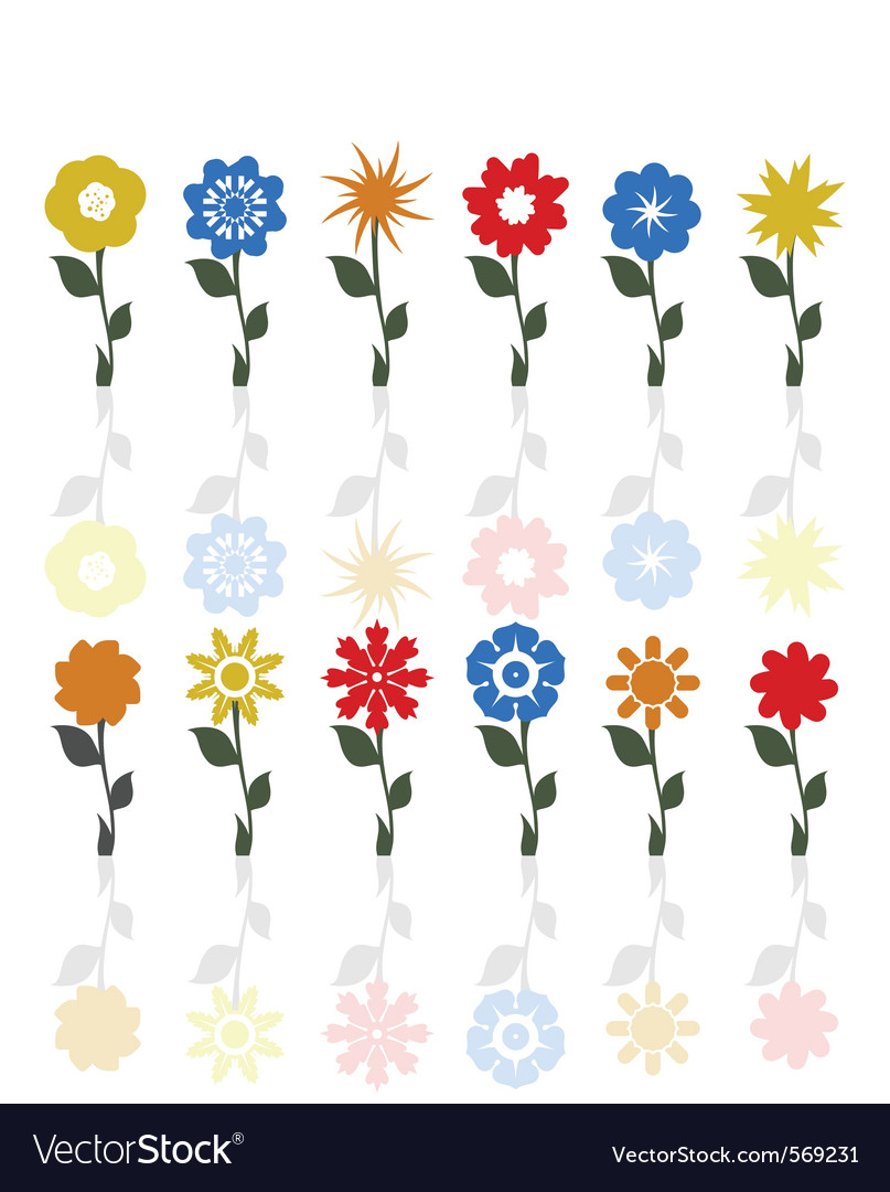 Flowers on a stem vector | Price: 1 Credit (USD $1)