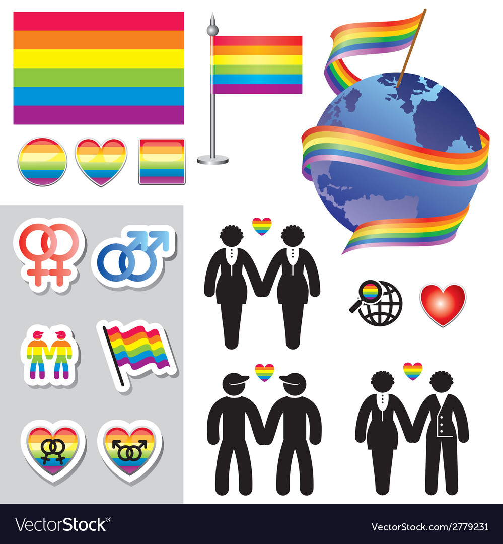 Gay map icons vector | Price: 1 Credit (USD $1)