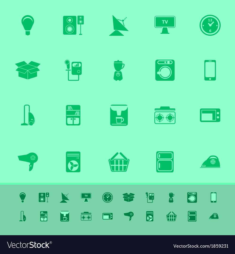 Home related color icons on green background vector | Price: 1 Credit (USD $1)