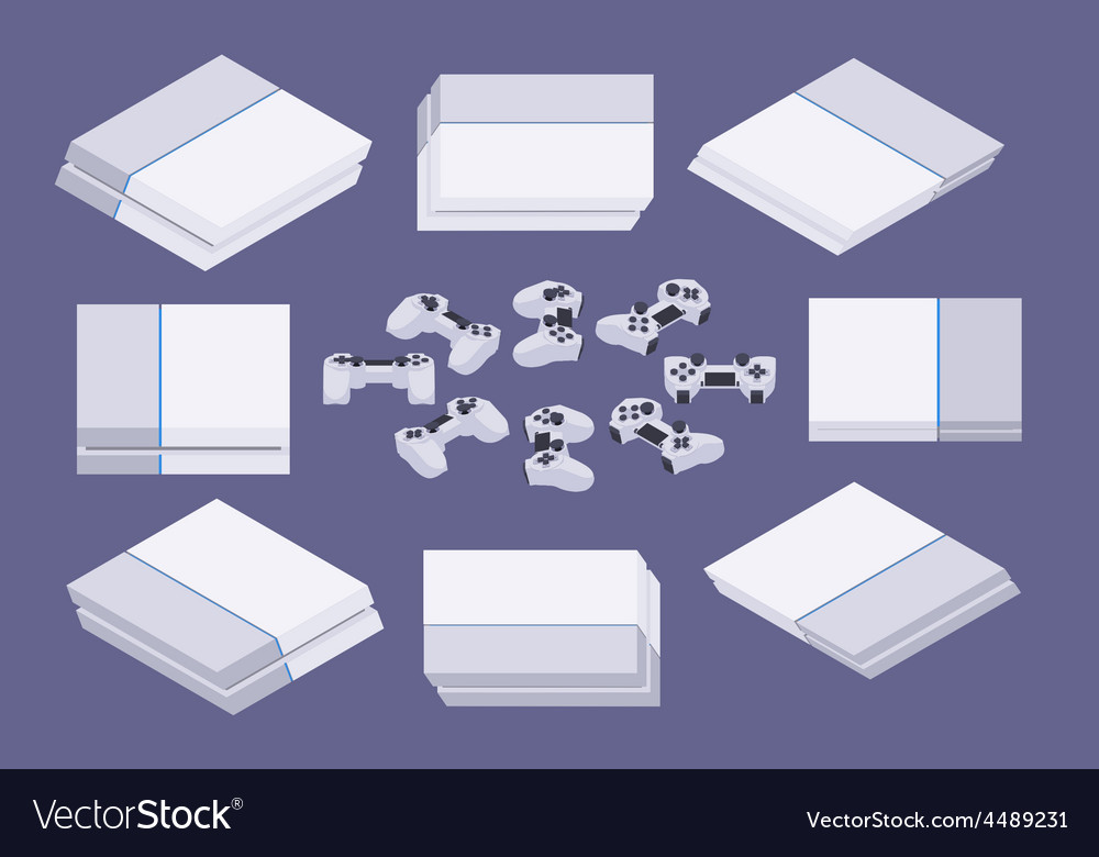 Isometric white nextgen gaming console vector | Price: 1 Credit (USD $1)