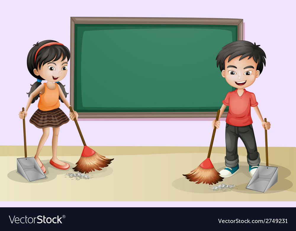 Kids cleaning near the empty board vector | Price: 1 Credit (USD $1)