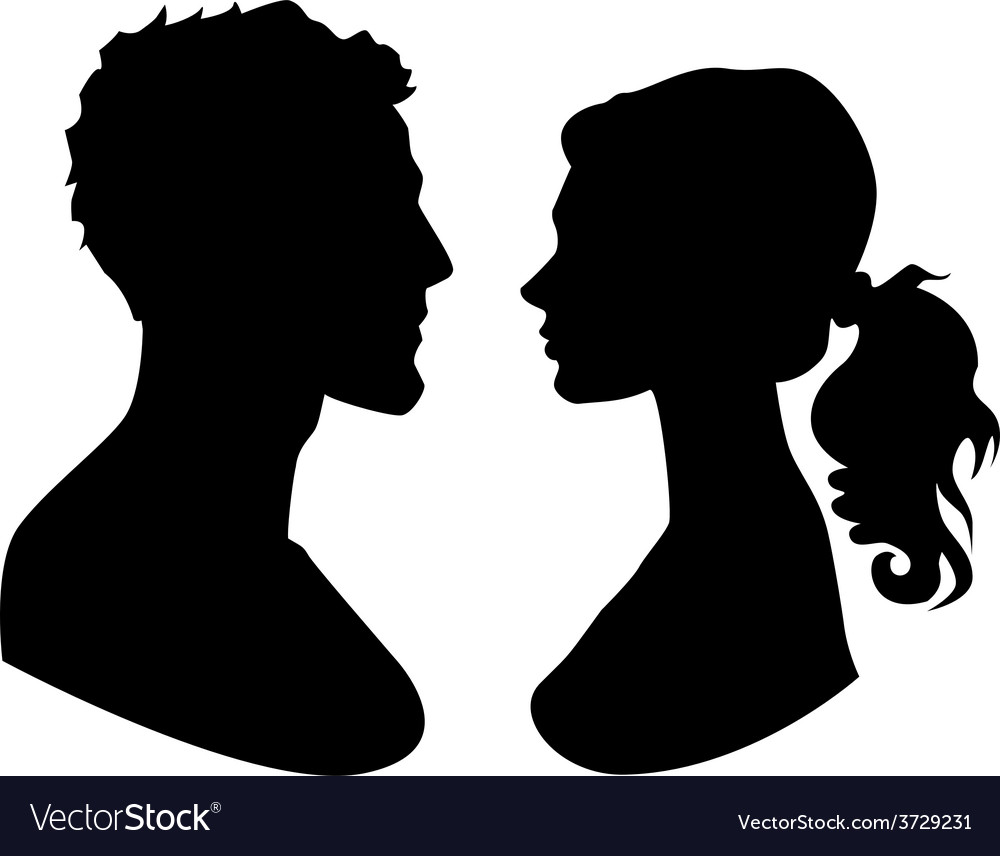 Man and woman faces silhouette vector | Price: 1 Credit (USD $1)