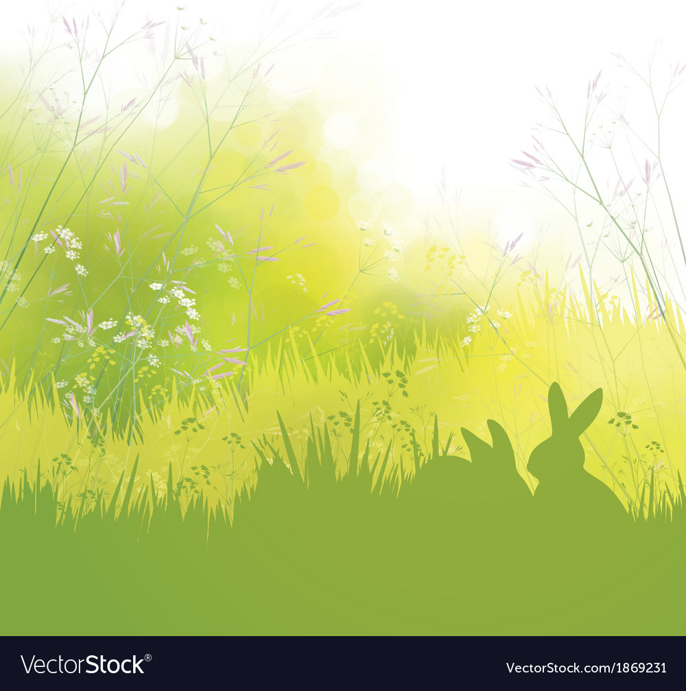 Rabbits grass background vector | Price: 1 Credit (USD $1)
