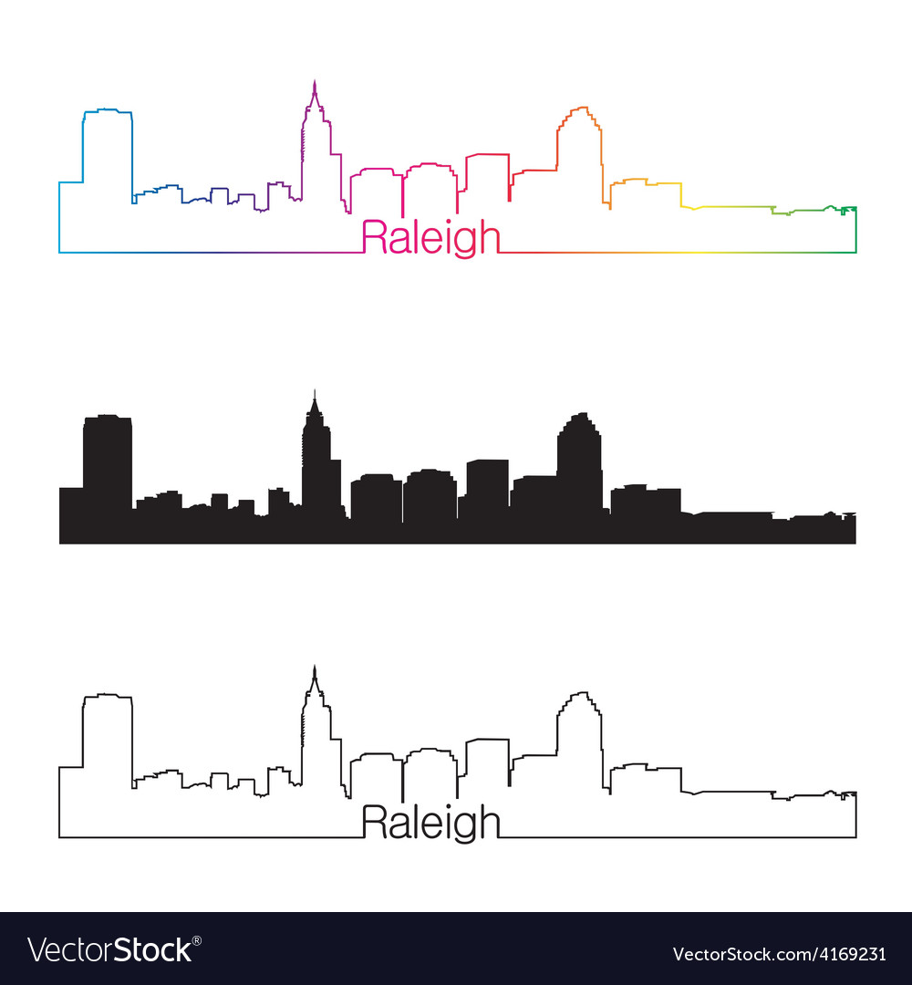Raleigh skyline linear style with rainbow vector | Price: 1 Credit (USD $1)