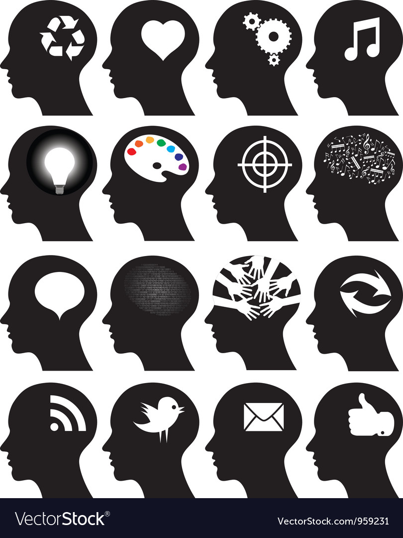 Set of 16 head icons with idea symbols vector | Price: 1 Credit (USD $1)