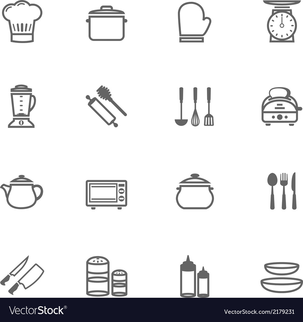 Set of outline stroke kitchenware icon vector | Price: 1 Credit (USD $1)