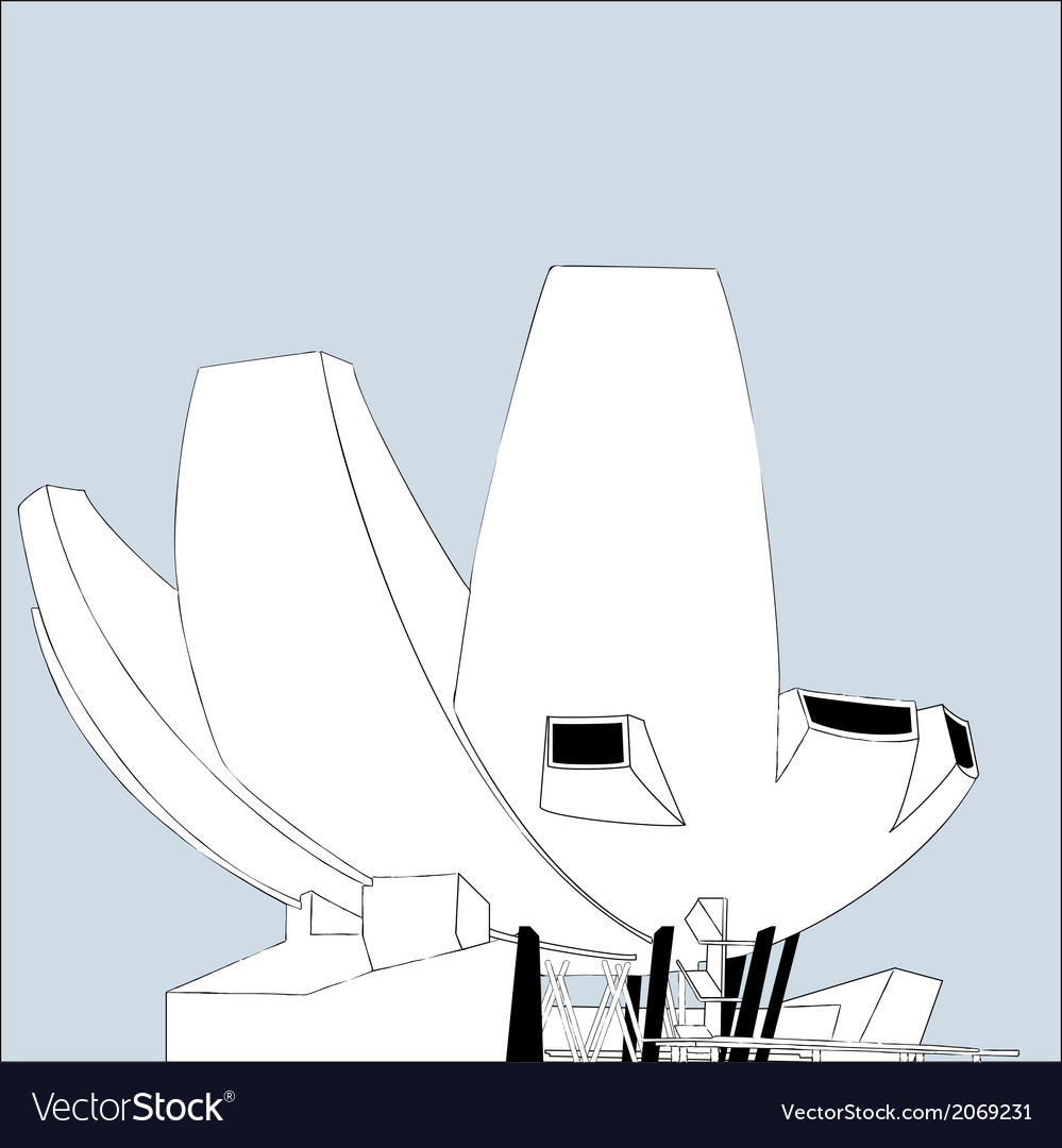 Singapore museum at marina bay sands vector | Price: 1 Credit (USD $1)