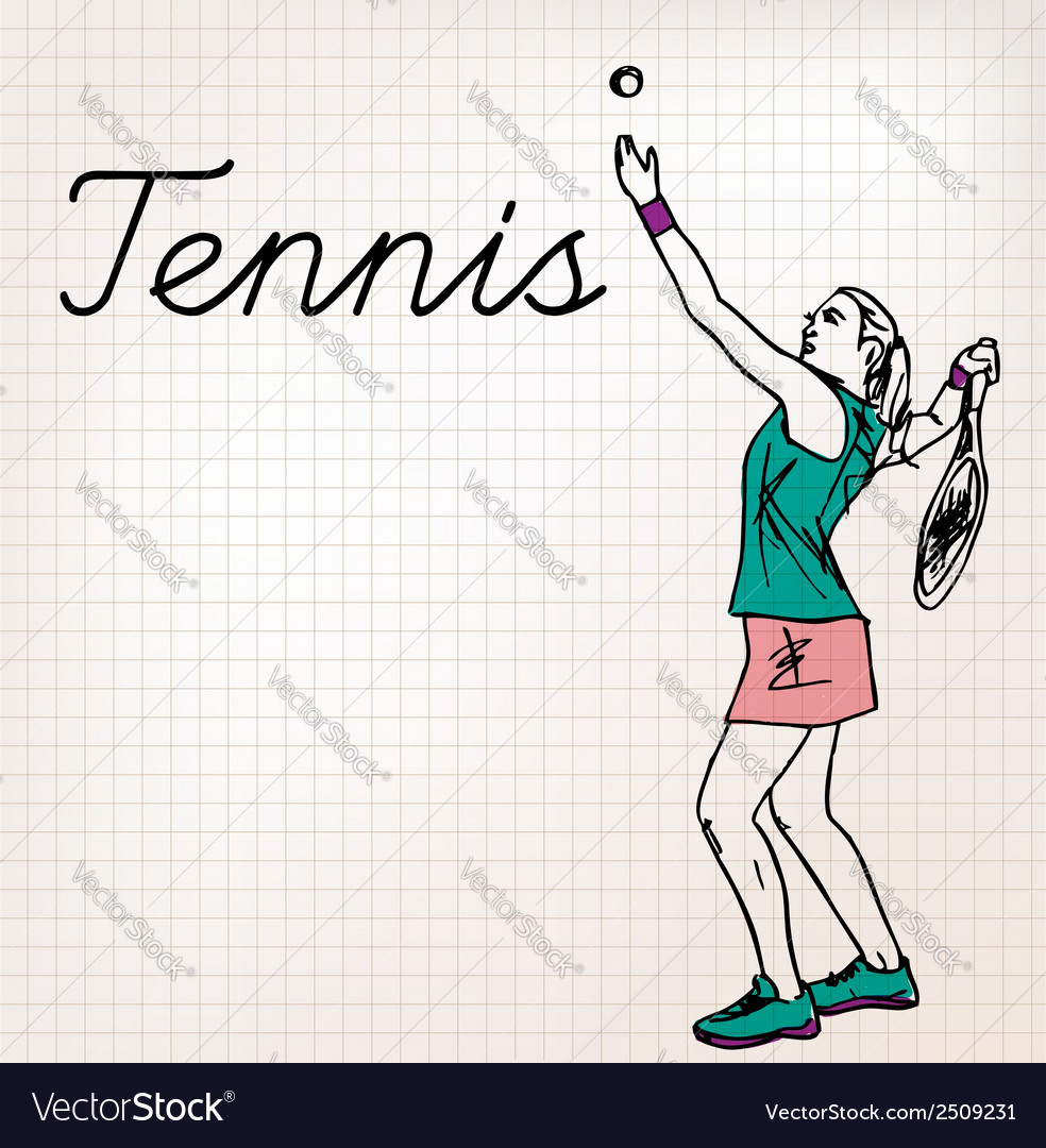 Tennis players sketch vector | Price: 1 Credit (USD $1)