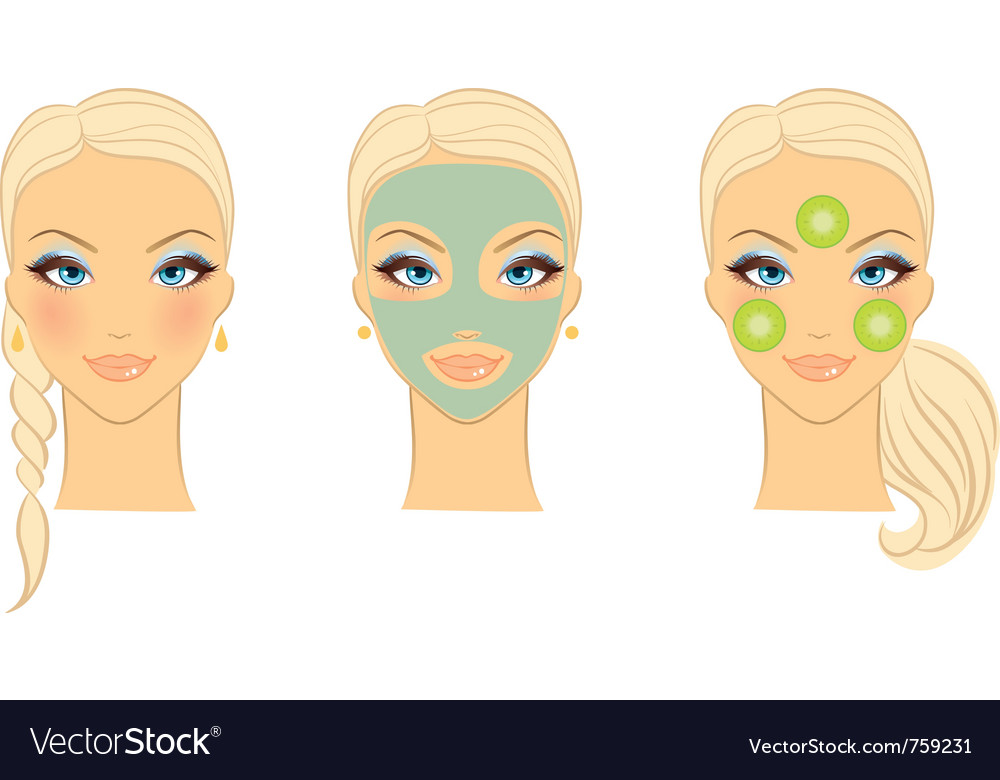 Womans front face care vector | Price: 3 Credit (USD $3)