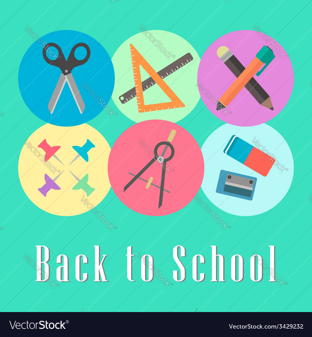 Back to school conception chancellery set vector | Price: 1 Credit (USD $1)