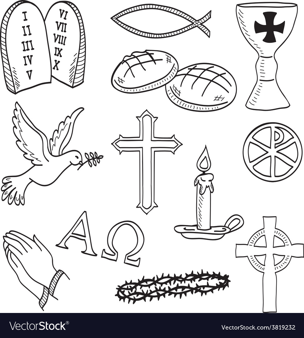 Christian hand-drawn symbols vector | Price: 1 Credit (USD $1)