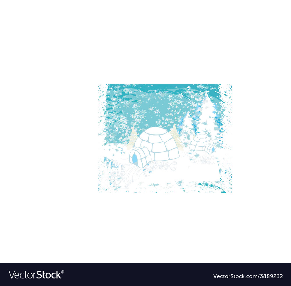 Christmas igloo at the evening - abstract winter vector | Price: 1 Credit (USD $1)