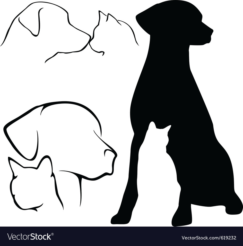 Dog and cat silhouettes vector | Price: 1 Credit (USD $1)