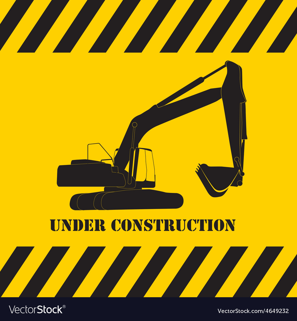 Excavator work under construction vector | Price: 1 Credit (USD $1)