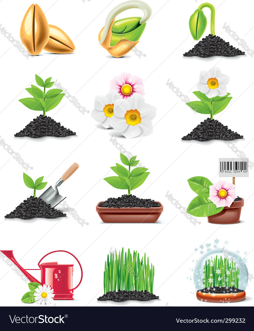 Gardening icon set vector | Price: 3 Credit (USD $3)