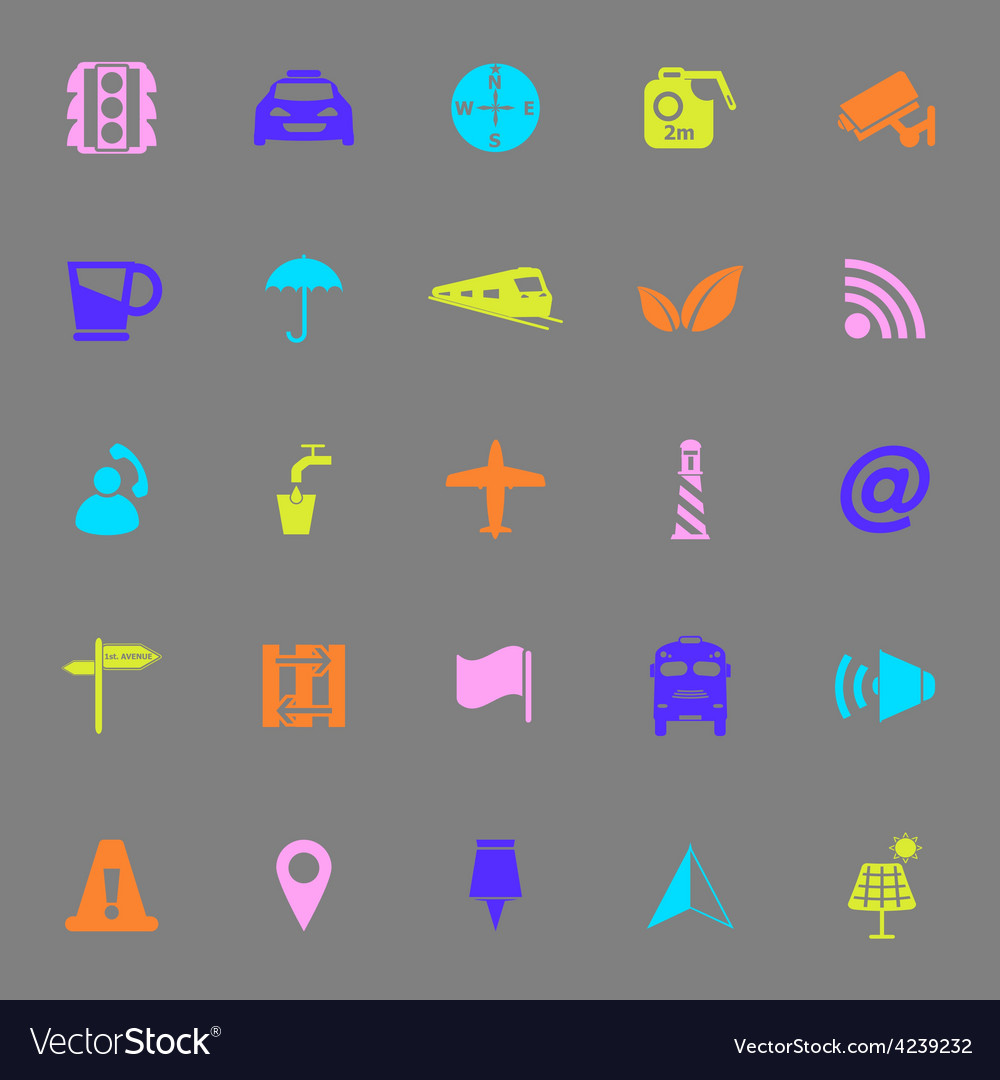 Map sign color icons on gray background vector | Price: 1 Credit (USD $1)