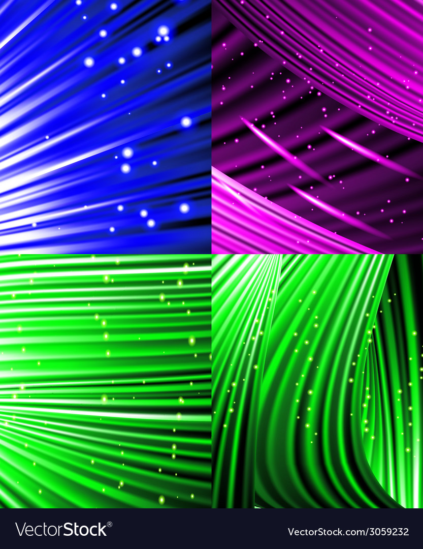Set of abstract luminous rays background vector | Price: 1 Credit (USD $1)