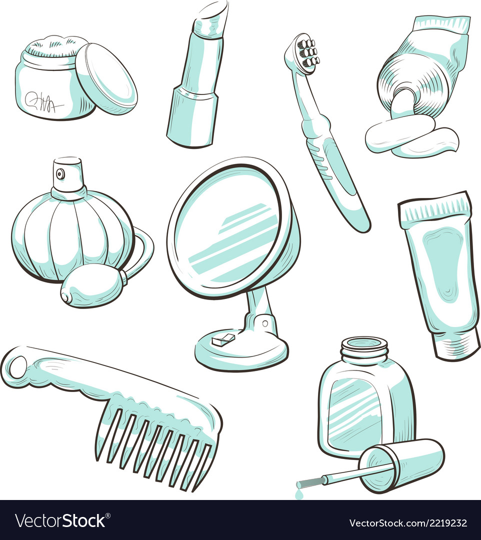 Set of cosmetic accessories vector | Price: 1 Credit (USD $1)