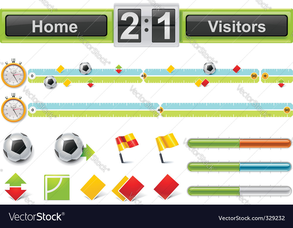 soccer match timeline w vector | Price: 3 Credit (USD $3)