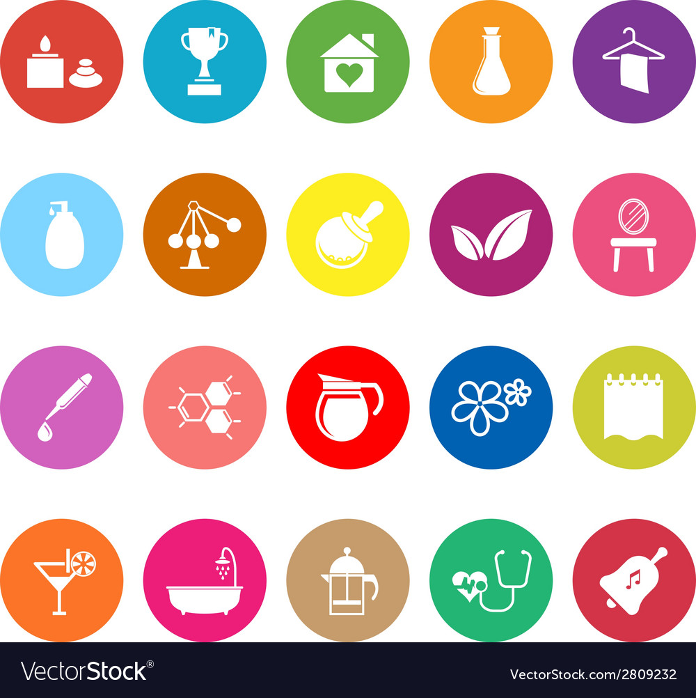 Spa treatment flat icons on white background vector | Price: 1 Credit (USD $1)