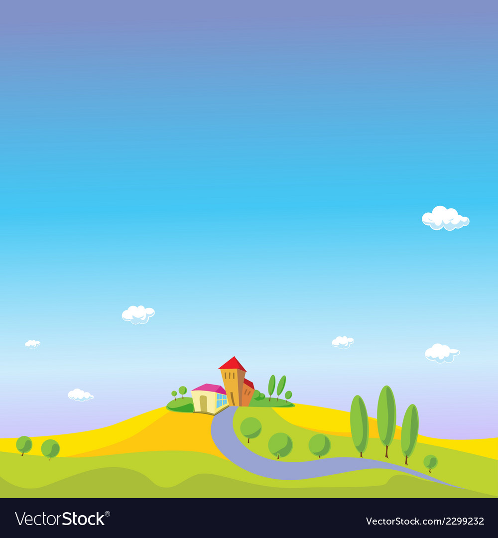 Summer landscape with blue sky vector | Price: 1 Credit (USD $1)